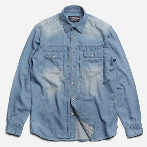 [프리즘웍스]Washed denim trucker shirt _ l.blue