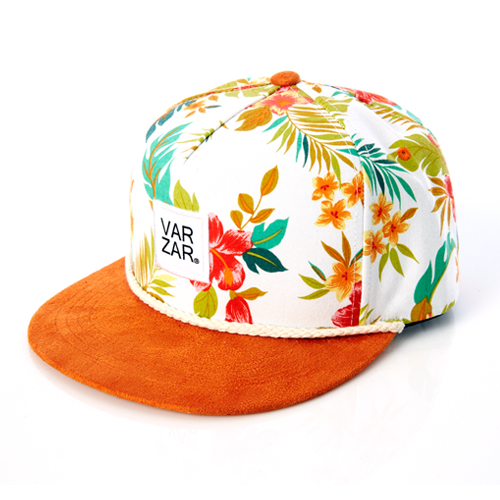 [바잘] flower pettern 5 panel cap orange