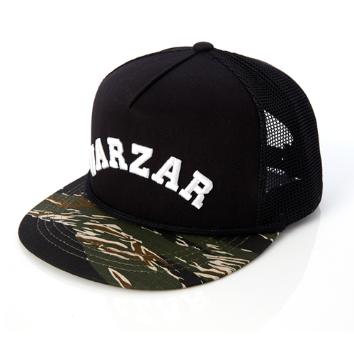 [바잘] varzar logo 5 panel side mesh cap military
