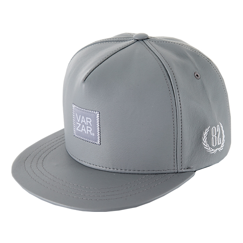 [바잘] basic leather snapback grey