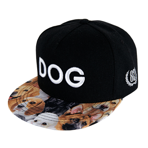 [바잘] dog embroidery snapback black