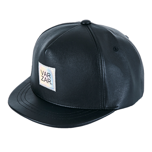[바잘] hologram lavel leather snapback black