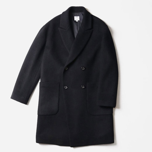 [레이지]PATCH POCKET OVERSIZE DOBLE COAT BLACK