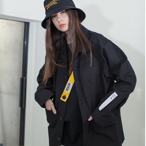 [스텝온리]남녀공용SAFETY BELT COVERALL JACKET (BLACK)