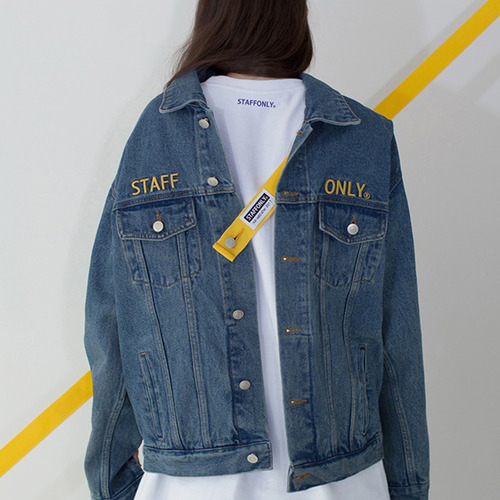 [스텝온리]남녀공용SAFETY BELT DENIM JACKET (BLUE)