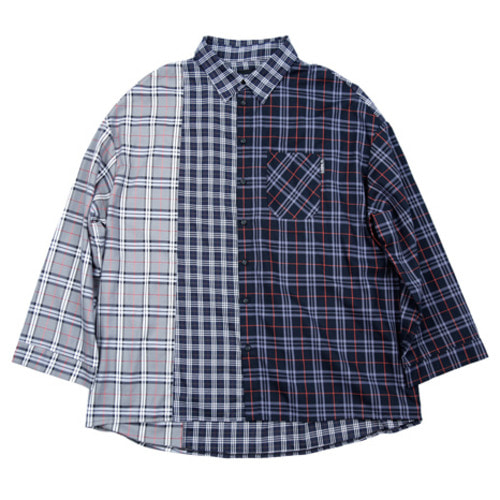 [아조바이아조] Over Check Mixed Shirt (Navy)