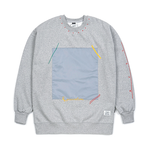 [스티그마]STIGMA SQUARE HEAVY SWEAT OVERSIZED CREWNECK GREY