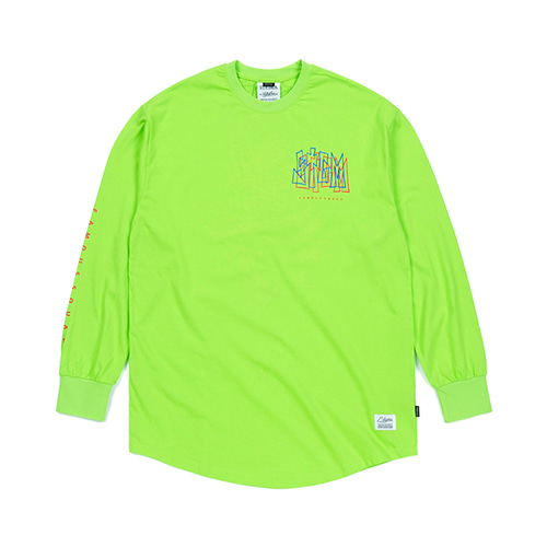 [스티그마]STIGMA PRISM LAYERD LONG SLEEVES T-SHIRTS NEON GREEN