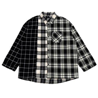 [아조바이아조]over check mixed shirt black