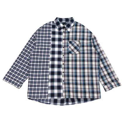[아조바이아조]over check mixed shirt blue