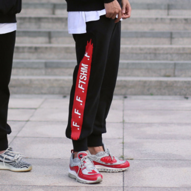 [패티즘]FTSHM UNBALANCE SWEAT PANTS BLACK/RED