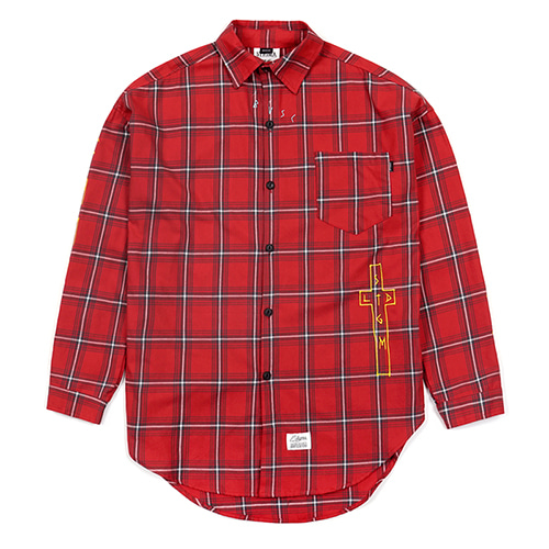 [스티그마]STIGMA GUADALUPE OVERSIZED CHECK SHIRTS RED