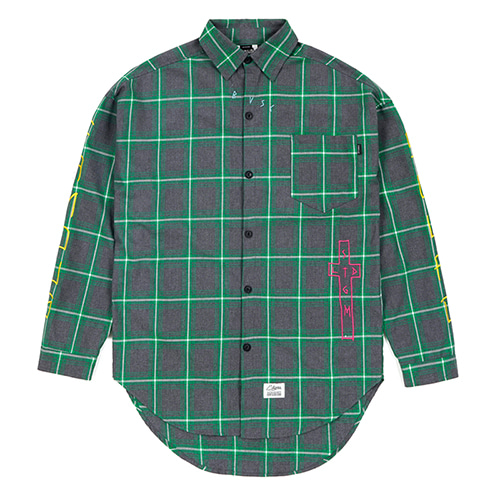 [스티그마]STIGMA GUADALUPE OVERSIZED CHECK SHIRTS GREEN
