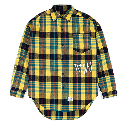 [스티그마]STIGMA SLASH OVERSIZED CHECK SHIRTS YELLOW