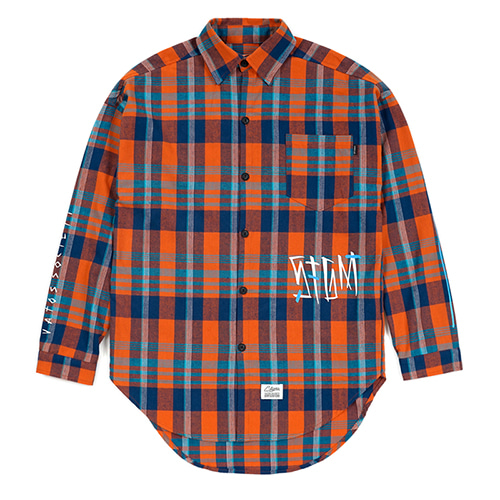 [스티그마]STIGMA SLASH OVERSIZED CHECK SHIRTS ORANGE