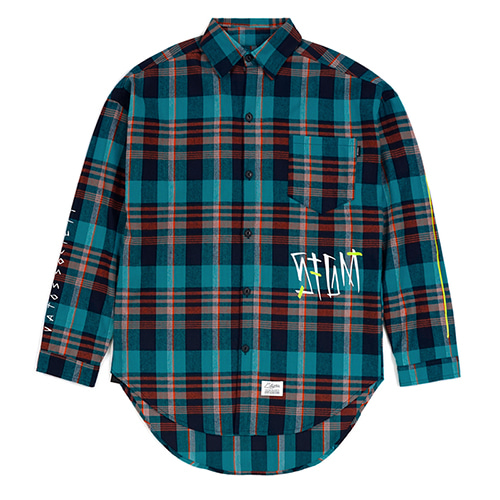 [스티그마]STIGMA SLASH OVERSIZED CHECK SHIRTS GREEN