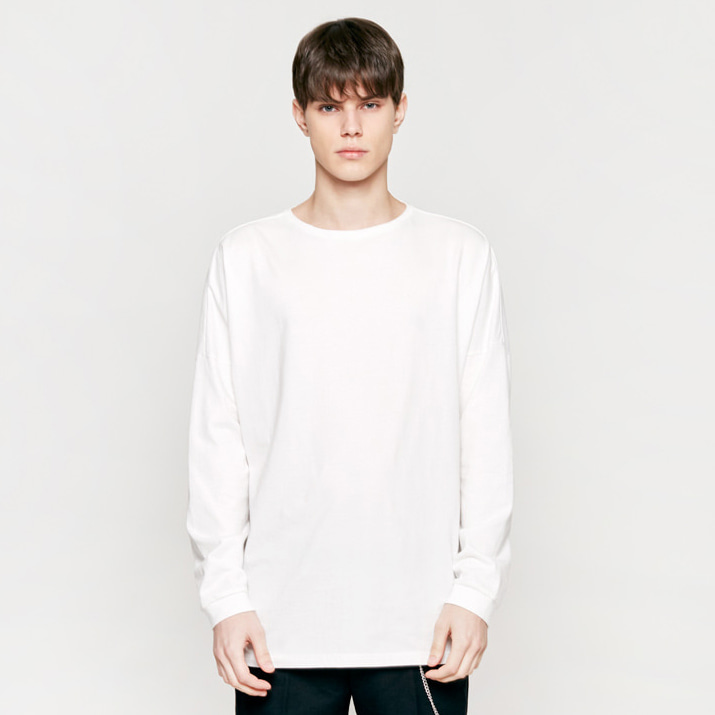 [인사일런스]SOLID CREW NECK LONG SLEEVES white