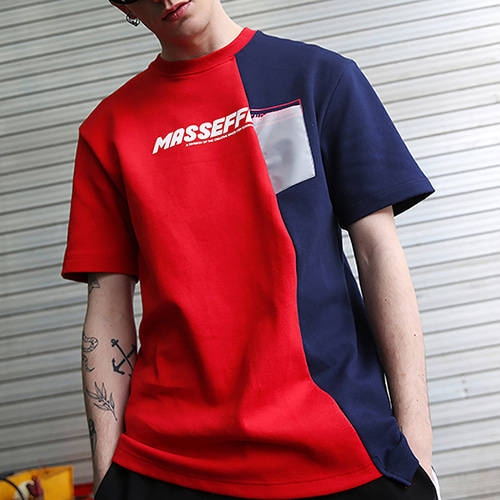[랑데부] UNBALANCED BLOCK T-SHIRTS RED