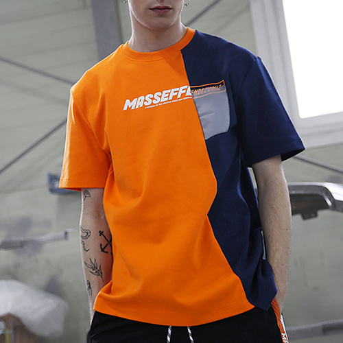 [랑데부] UNBALANCED BLOCK T-SHIRTS ORANGE