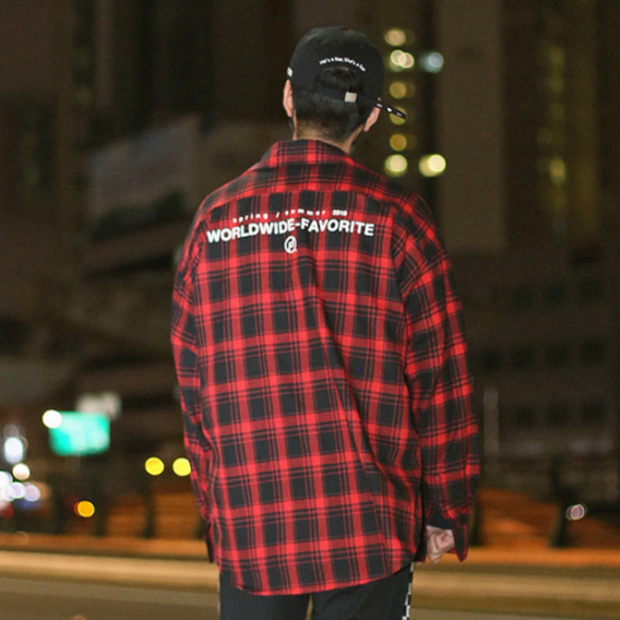 [패티즘]FTSHM OVER FIT FLANNEL SHIRT RED&BLACK