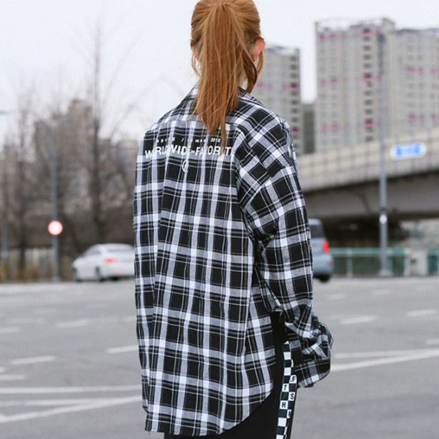 [패티즘]FTSHM OVER FIT FLANNEL SHIRT BLACK&WHITE