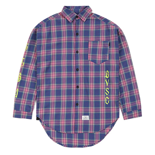 [스티그마]STIGMA WAVE OVERSIZED CHECK SHIRTS VIOLET