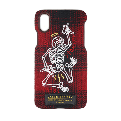 [스티그마]STIGMA MASTERPIECE WOOL CHECK FABRIC CASE RED iPhone 8 / 8+ / X