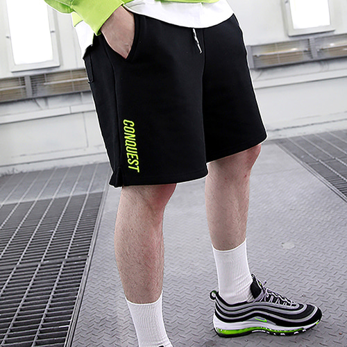 [랑데부] CONQUEST SWEAT SHORT BLACK