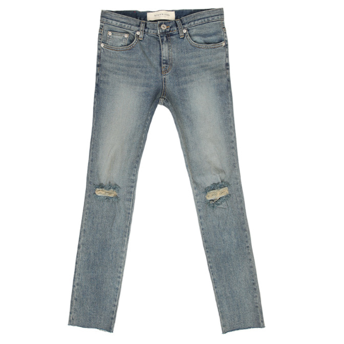 [루버스태그][STAG304] GRAYISH BLUE WASHED CUTTING CROP JEANS