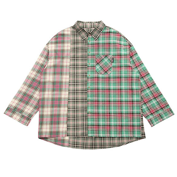 [아조바이아조] Over Check Mixed Shirt [Pink]
