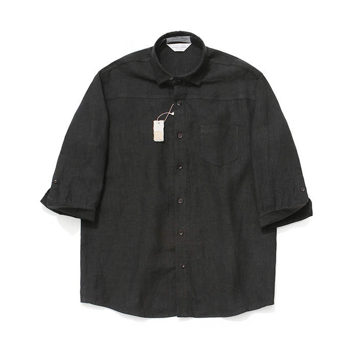 [라퍼지스토어][프리미엄]Cropped Sleeve Linen Shirt_Black