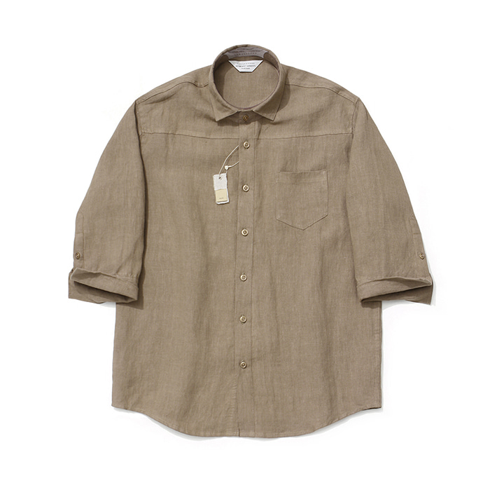 [라퍼지스토어]Cropped Sleeve Linen Shirt_Brown