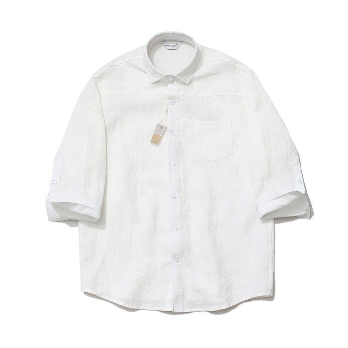 [라퍼지스토어][프리미엄]Cropped Sleeve Linen Shirt_White