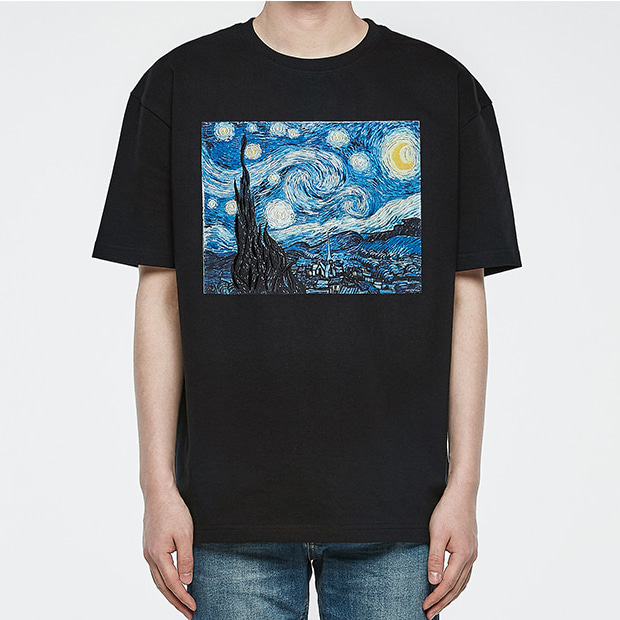 [오엑스스튜디오]Atelier T-shirts - Starry Night (Black) Phase #1 ; Lovin' Vincent