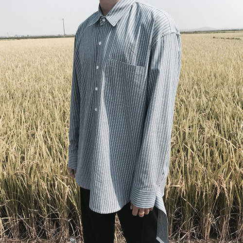 [4BLESS] Unbalance Stripe 2way Shirts Blue