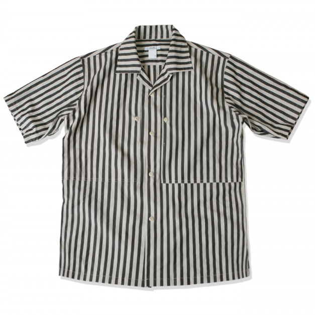 [스웰맙]open collar vertical stripe shirts -black-