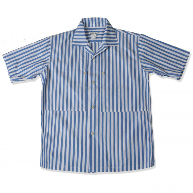 [스웰맙]open collar vertical stripe shirts -sky blue-