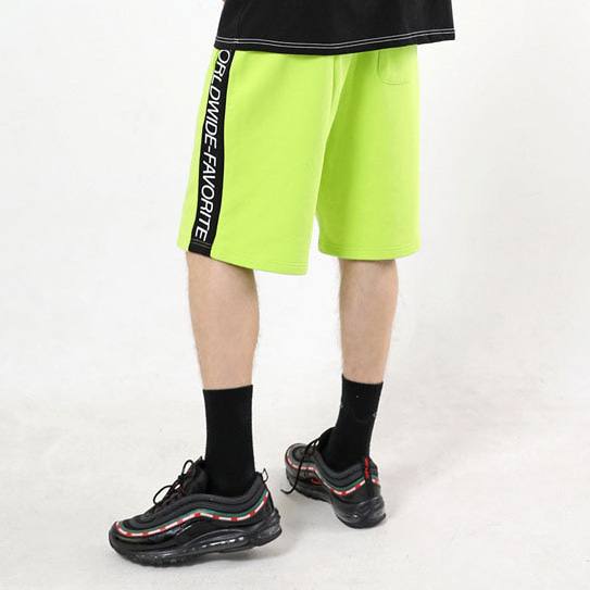 [패티즘]FTSHM SIDE LINE HALF PANTS NEON GREEN & BLACK