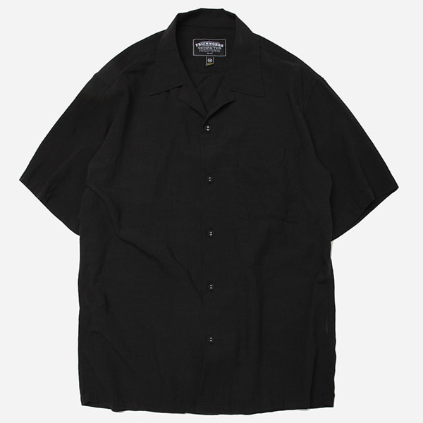 [프리즘웍스]Feature open collar shirt _ black