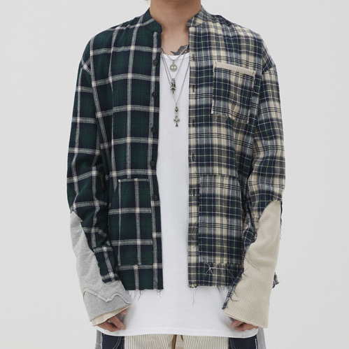 [9/28 예약배송][이노반트]unbalance check shirt (green)