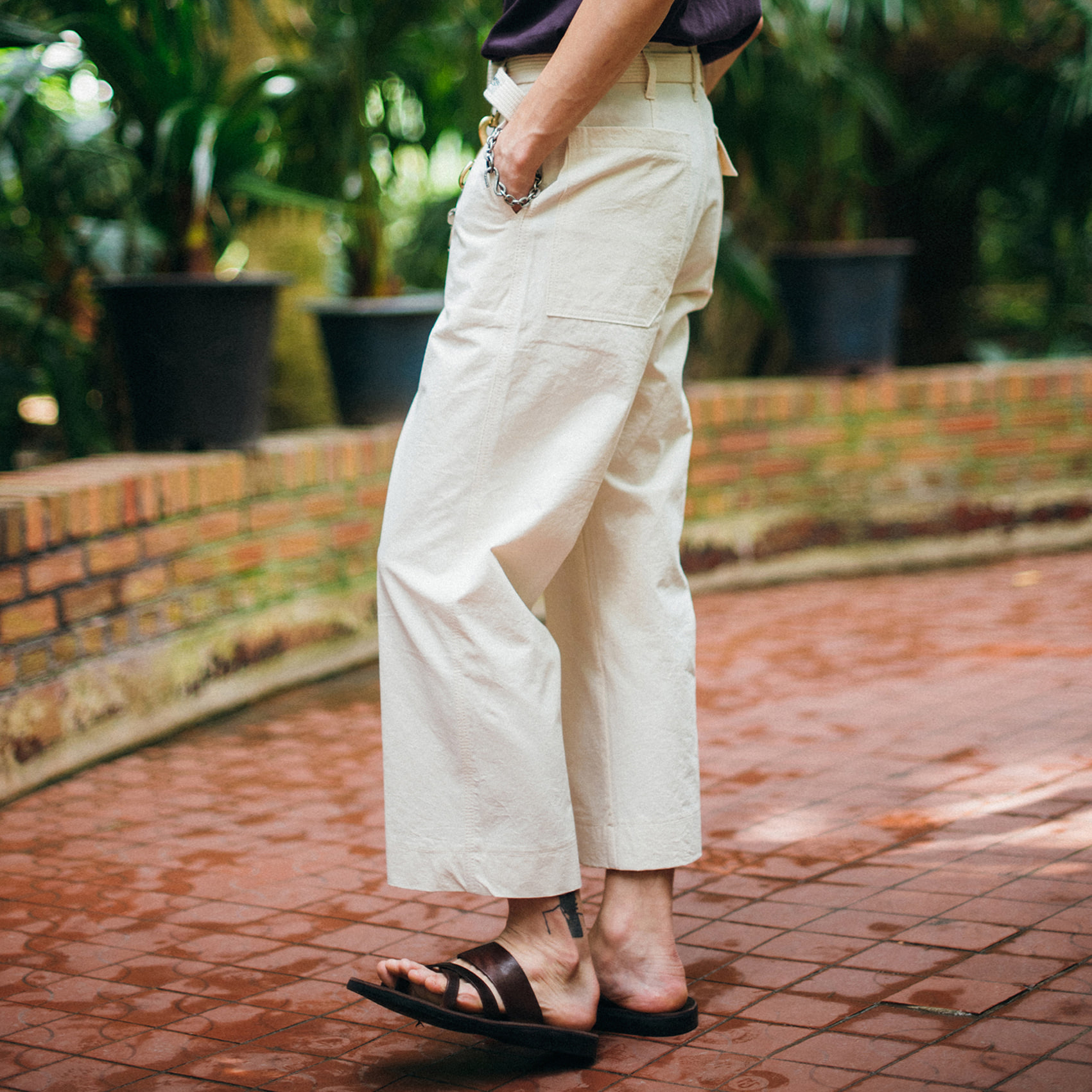 [콘보이]9/L d ring wide pants cream