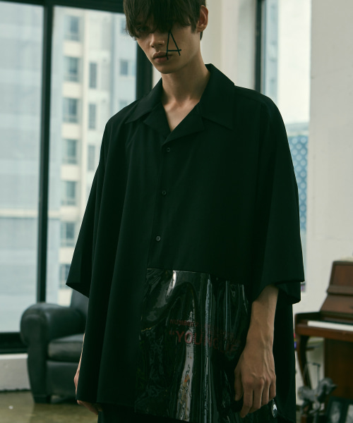[에드]ADD PVC AVANTGARDE OPEN COLLAR SHIRTS BLACK
