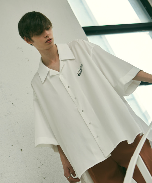 [에드]ADD SIGN AVANTGARDE OPEN COLLAR SHIRTS WHITE