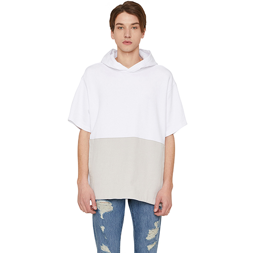 [랩 101]LI1WHS04WH WHITE COLOR BLOCK FRONT POCKET S/S HOODY