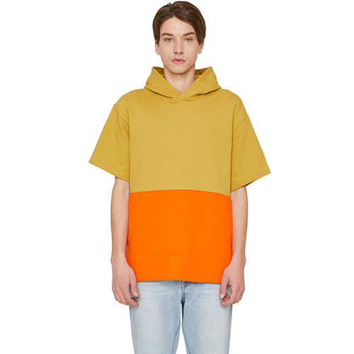 [랩 101]LI1WHS04LY LIGHT YELLOW COLOR BLOCK FRONT POCKET S/S HOODY