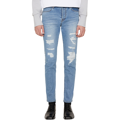 [랩 101]LI1DBS11LB BEN SLIM LIGHT BLUE ALL OVER DISTRESSED