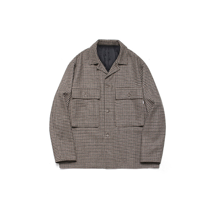 [라퍼지스토어]Wide Check Wool Trucker_Hound's tooth check Brown