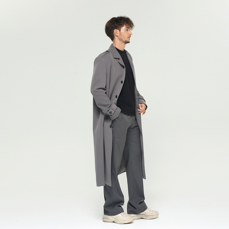 [알로스] Maxi Long Trench coat [Beetle Grey]