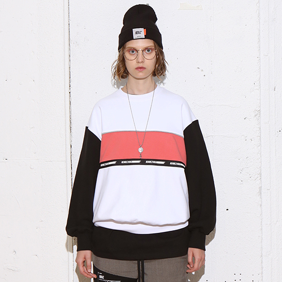 [알디브이제트] COLOR BLOCK SWEAT TOP WHITE