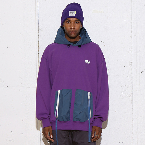 [알디브이제트] DOUBLE POCKET HOODIE PURPLE